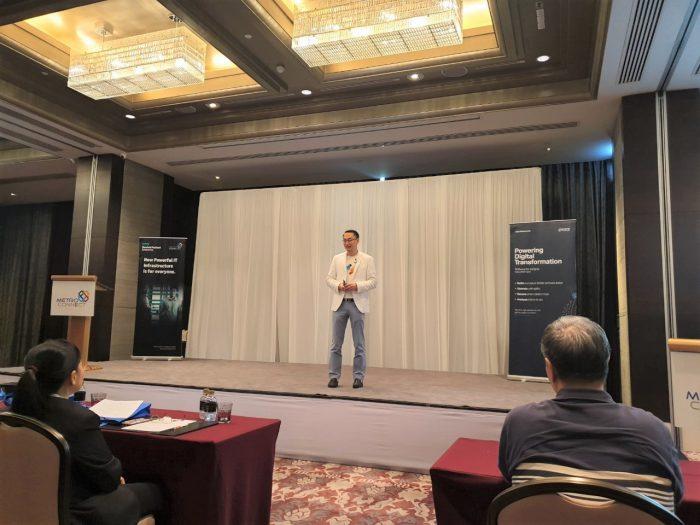 คุณเสรี สาธุกิจชัย บรรยายถึงจุดเริ่มต้นของ Netizen S/4HANA Peony ด้วย Solutions Package ที่สามารถตอบโจทย์ธุรกิจในไทย