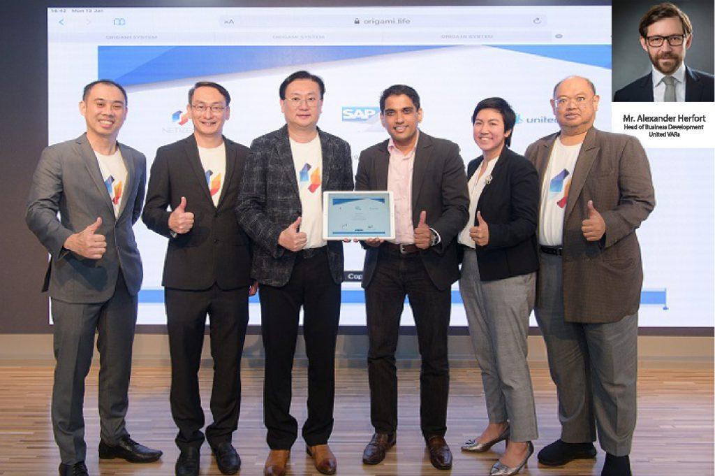คุณกฤษดา สาธุกิจชัย ประธานเจ้าหน้าที่ฝ่ายบริหาร และ Mr. Alexander Herfort Head of Business Development – United VARs ร่วมลงนาม แต่งตั้งเป็นสมาชิก United VARs พันธมิตรของ SAP โดยการ Conference Call และได้ทำการ Digital Signing ผ่าน Origami Cloud Platform โดยมี SAP ร่วมเป็นสักขีพยาน