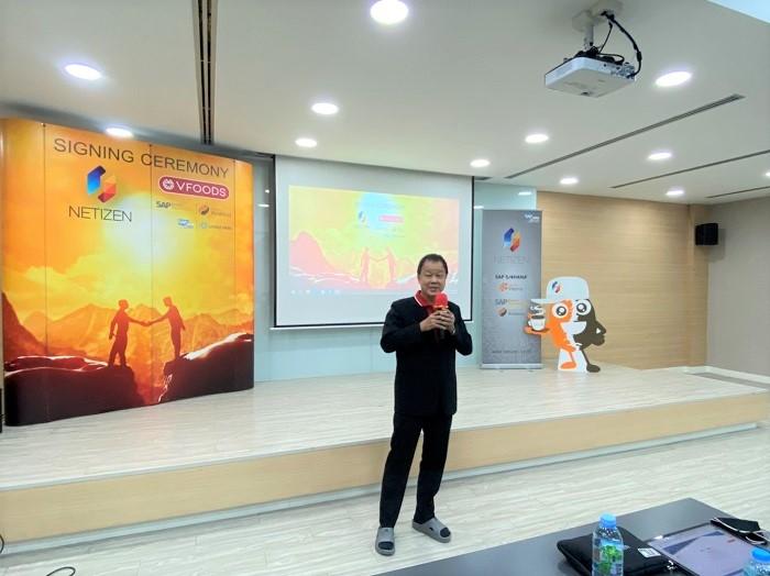 คุณสมนึก งามนิธิพร MD วาไรตี้ ฟู้ดส์ กล่าวแสดงความยินดีในการวางระบบ SAP Business ByDesign เวอร์ชัน Netizen Arabica